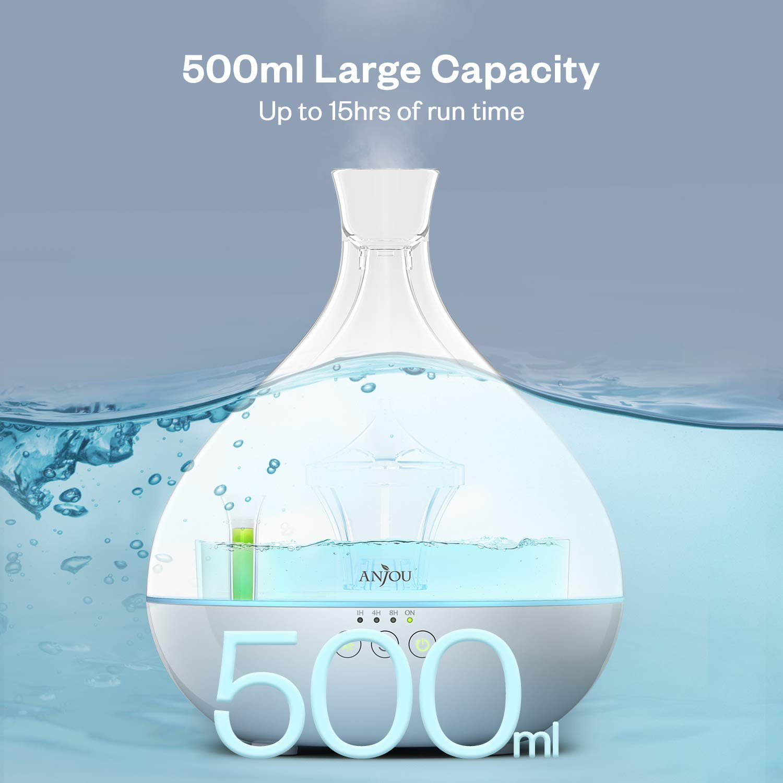 Anjou 500ml BPA Free Cool Mist Humidifier Aromatherapy